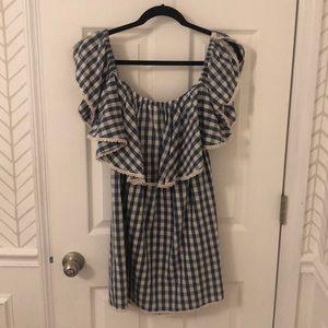 Misa Los Angeles Gingham Off the Shoulder Dress